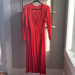 Zara red wrap dress, satin